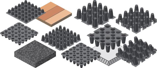 Nophadrain 3D-illustraties van drainagelagen voor groendaken
